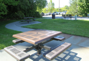 Picnic tables and employee parking